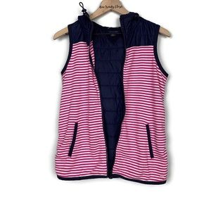 Tommy Hilfiger Navy with Pink Striped Hooded Vest